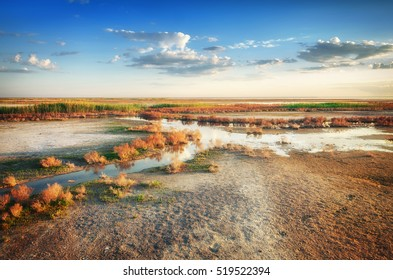Stream of mineral water goes by dry ground under beautiful sky. Panorama of nature near salt lake Elton. Astrakhan region, Russia. Picture shoot in May. Spring is beautiful time.