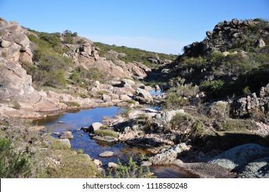 Stream in the mountain range of traslasierra, Cordoba, Argentina.