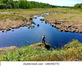 Stream in Northern Minnesota.  Fishing For Trout in a Remote Location.