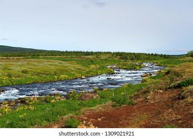 a stream running through, in Iceland