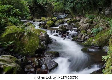 Stream of Wanye Park, Yugawara Onsen, Yugawara machi, Ashigarashimo gun, Kanagawa Prefecture, Japan