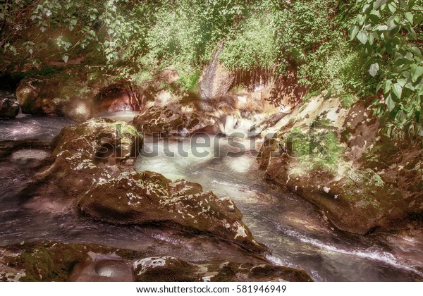 A stream with a waterfall. Sunny day, bright greenery around.