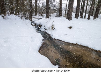 Stream in the winter pine forest with falling snow.