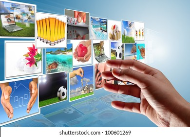 Streaming multimedia screen with reaching hand. All images coming from my gallery.