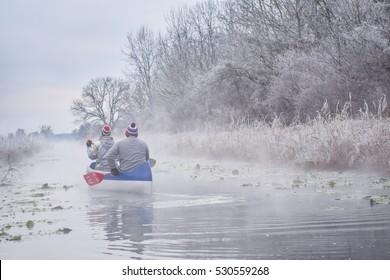 streaming river, streaming creek, hot water in winter, Hungarian nature, Balaton, Hungary, canoeing in winter, kayaking, canoeing on streaming water, Heviz Balaton, canoe, rimy trees, rime on trees,