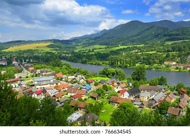 Strecno village and Vah river near Zilina in the Slovakia. The village is situated on the left bank of the river Vah, east of Zilina. The first written mention of the village dates back to 1321