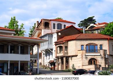 Streen with old houses, Sighnaghi (Signagi city), easternmost region of Kakheti, Georgia