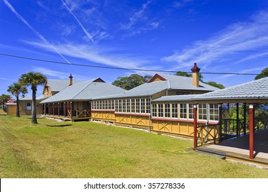 Street of 1st class cottages in Quarantine station, Sydney's North head. Modern historic museum of australian's past and colonisation