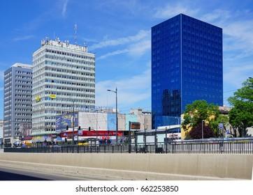 Street AL.Mickiewicza LODZ, POLAND,JUNE 09 2017 : The route WZ