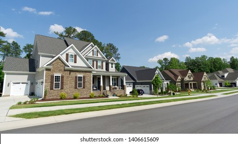 Street of american suburban homes