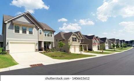 Street of american suburban homes