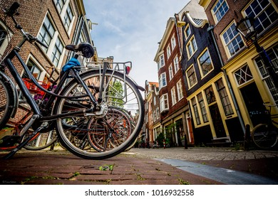Street of Amsterdam, old street, bycicle in the street