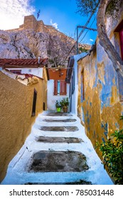 Street of Anafiotika in the old town of Athens, Greece. Anafiotika is district built by workers from the island Anafi. Popular tourist attraction.