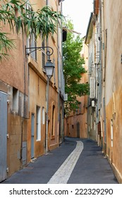 Street and ancient buildings in the old hystorical part of Aix en Provence town, South France