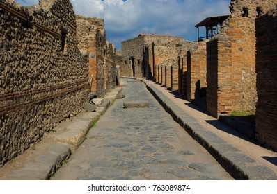 Street in ancient Pompeii, which was destroyed by the eruption of Mount Vesuvius in 79AD