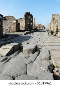 Street at the ancient Roman city of Pompeii, which was destroyed and buried by ash during the eruption of Mount Vesuvius in 79 AD