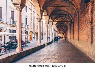 Street arcade in Padua (Padova), Veneto, Italy