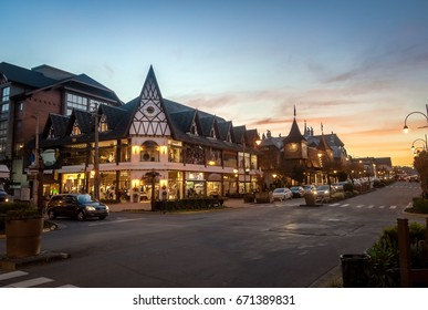 Street and architecture of Gramado city at sunset - Gramado, Rio Grande do Sul, Brazil