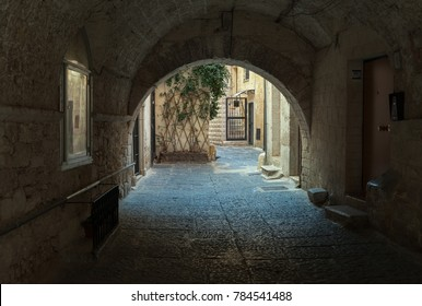 Street with an archway on morning time.