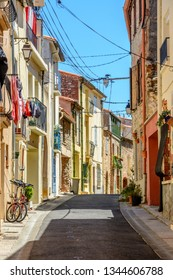 Street in Argeles-sur-Mer in the Pyrenees-Orientales department in southern France