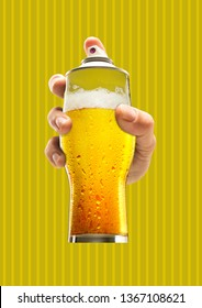 Street art. Male hand holding a glass of cold beer as a spray cannister against yellow-braun background. Modern design. Contemporary art collage. Concept of arts, drawing, drinks or weekend chilling. - Shutterstock ID 1367108621