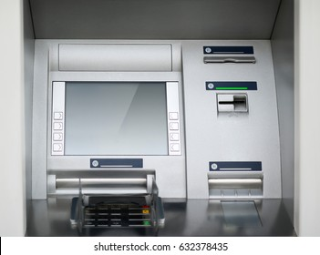 Street ATM teller machine with current operation. Blank screen for mockup