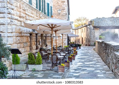 Street in Bagno Vignoni, town famous for hot water springs, Tuscany