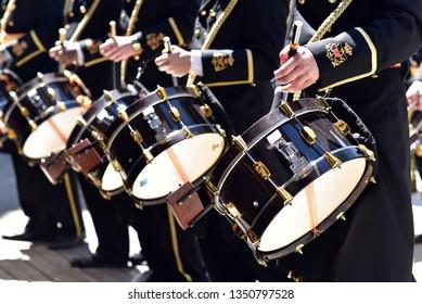 Street band playing drums during Santa Semana (Holy Week) in Granada, Spain