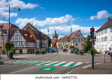 Street with beautiful half-timbered houses in the historic center of Selestat in Alsace. France