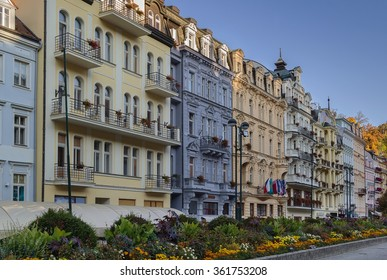 street with beautiful historical houses in Karlovy Vary city center, Czech republic