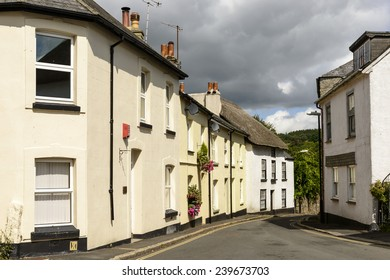 street bends at Moretonhampsted, Devon, view of bending street with old houses in the touristic village in the Dartmoor region