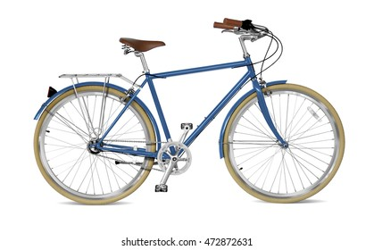 Street bicycle with blue frame.  Clipping path included.