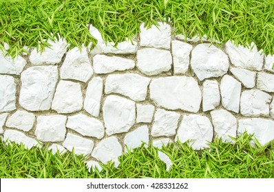 Street big rock wall  and grass on white stone pathway for background backdrop nature footpath, path, pathway, pavement, paving, sidewalk go green white and green nature background copy space for text