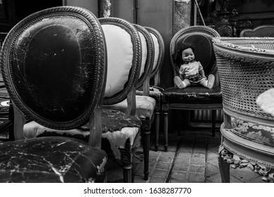 street black and white photo
