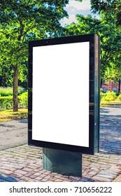 Street blank billboard for outdoor advertising in summertime