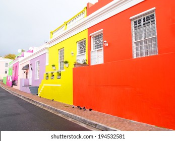 Street in Bo-Kaap. Bright colors. Malay Quarter. Cape Town. South Africa