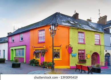 Street with bright colored houses  in Kinsale, Ireland