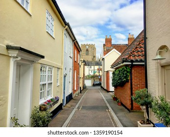 A street in Bury St Edmunds, UK with colourful cottages