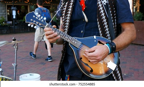 Street Busker Playing the Mandolin in Downtown Asheville