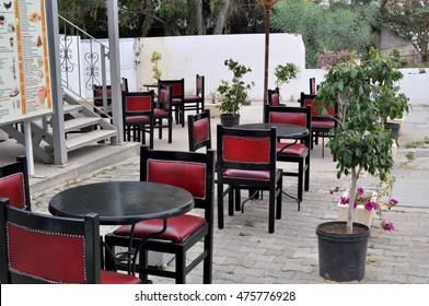 Street Cafe In Hammamed, Tunisia. Retro Style.