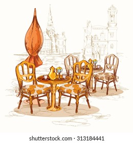 Street cafe sketch poster with chairs table and old town on background  illustration