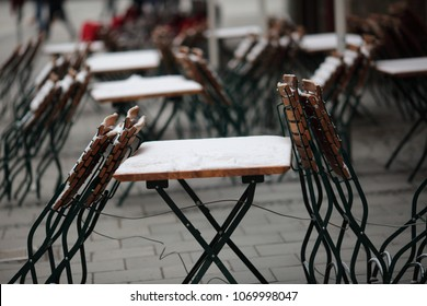 Street cafe in winter