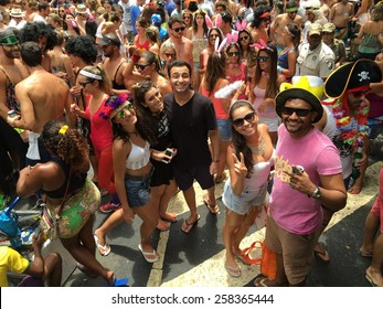 Street carnival parade in Rio de Janeiro, Brazil 2015 : Dancing crowd of happy people