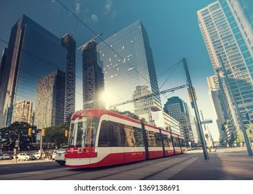 Street cars in Toronto cit, Canada