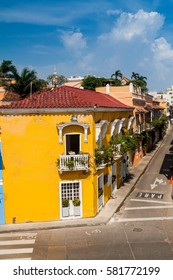 Street in the center of Cartagena de Indias, Colombia