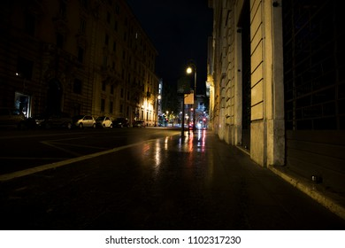 street in the center of Rome taken at night