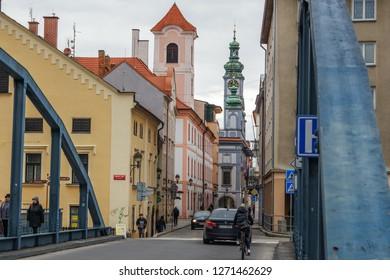 Street in Ceske Budejovice (Budweis), Czech Republic - November, 2018