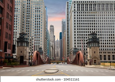Street of Chicago. Image of street in Chicago downtown at sunrise.