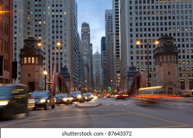 Street of Chicago. Image of La Salle street in Chicago downtown at twilight.