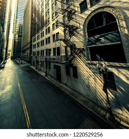 Street in Chicago with morning sun